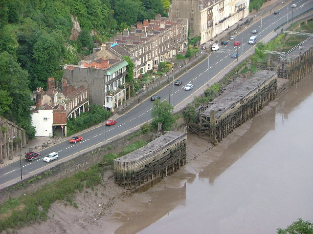 Old Steamer Staging, Hotwells, Bristol looking down from the suspension bridge