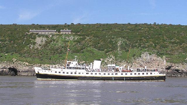 Steepholm, the old barracks. m.v. Balmoral at anchor