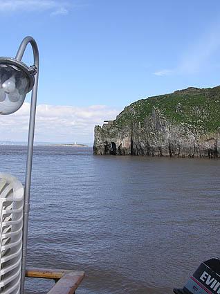 Steep Holm, Rudder Rock, western extremity; (Flatholm in background)