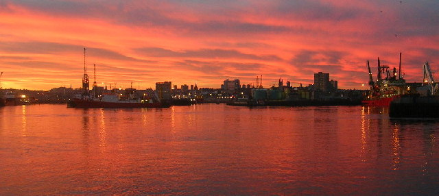 Sunset over Aberdeen Harbour