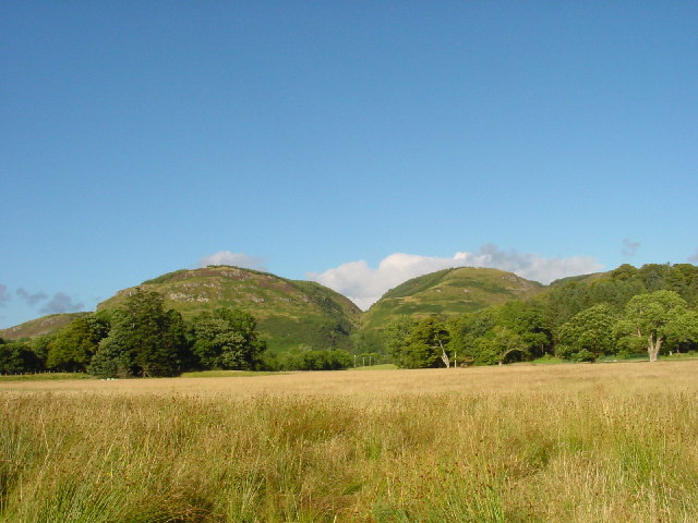 View over the fields towards Sron Mhor