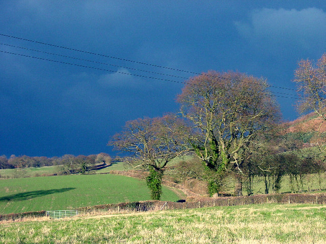 Fields by the hamlet of  Lower Dinchope