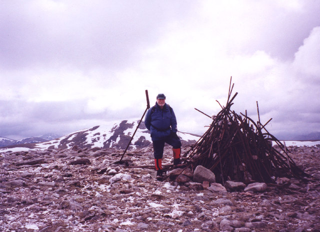 The unusual summit cairn of Meall Garbh