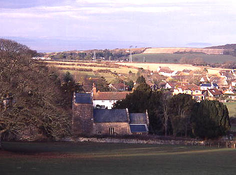 Holford church and village, Bristol Channel in background