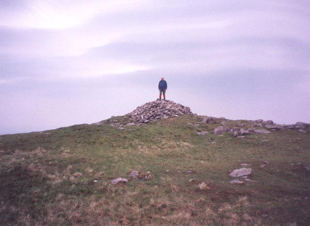 the summit cairn on Cairnsmore of Fleet