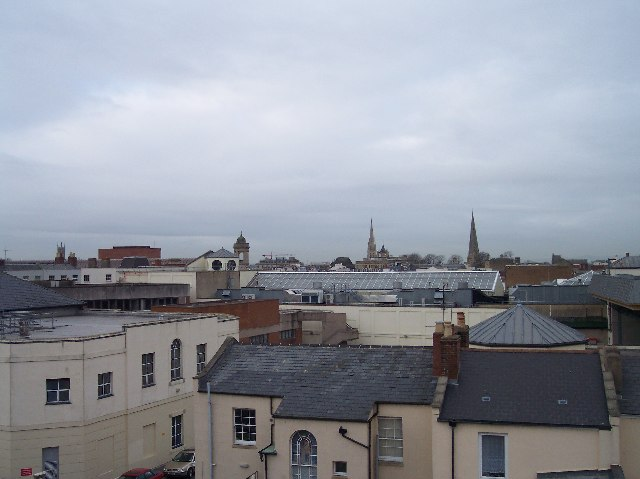 A view over the rooftops of Cheltenham