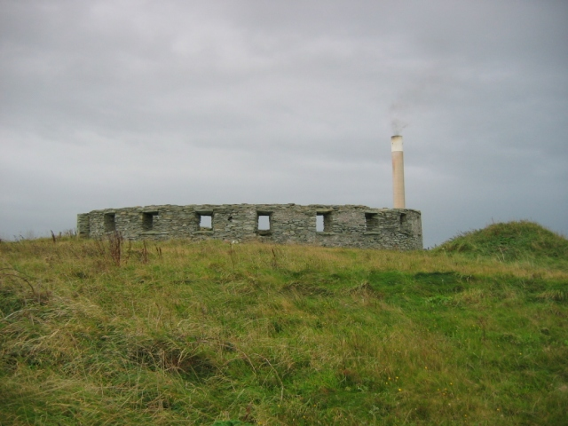 Battery with Anglesey Aluminium smelter chimney behind