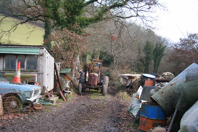 Brushford: yard by bridleway