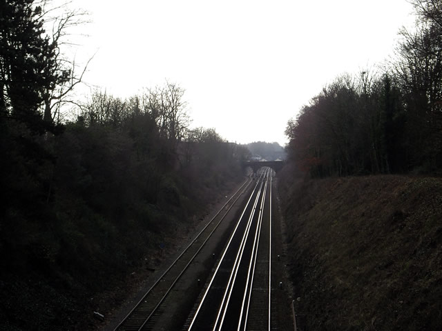 Railway line, Winchester, on Christmas Day