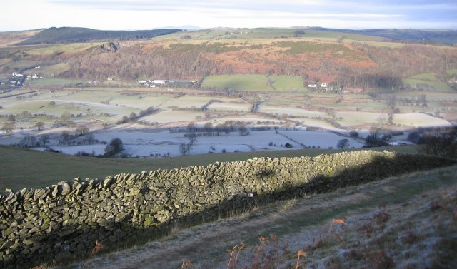 Dry stone wall in the  winter sunlight.