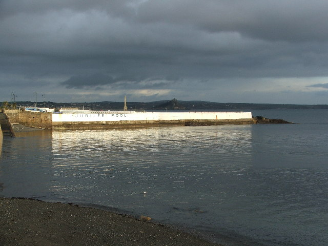 The Jubilee Pool, taken from Penzance Promenade, looking east on a winter afternoon.