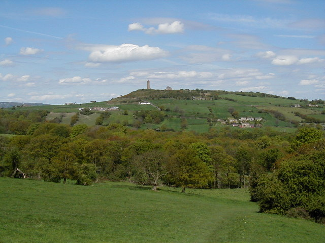 View across Royd House Wood to Castle Hill