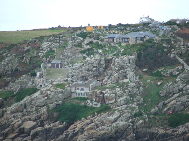 The Minack Theatre, from the Logan Rock headland.