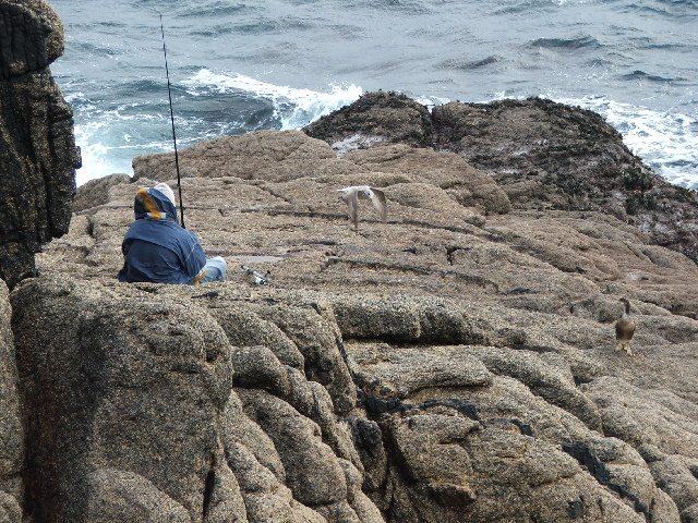 "Three ""hopeful fishermen"" on Minack Point"