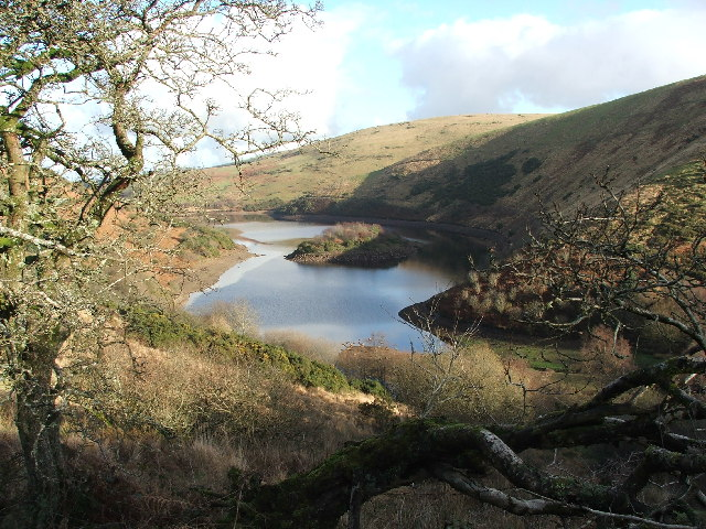 Meldon reservoir, from the southwest end, looking roughly northeast .