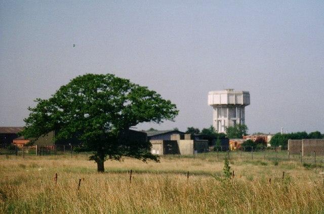 Nedging Tye water tower and part of RAF Wattisham south HAS