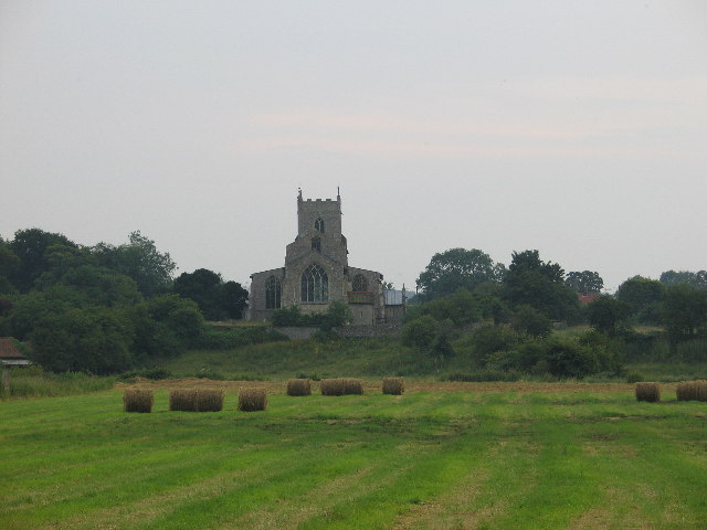 Wiveton Church from the road to Cley