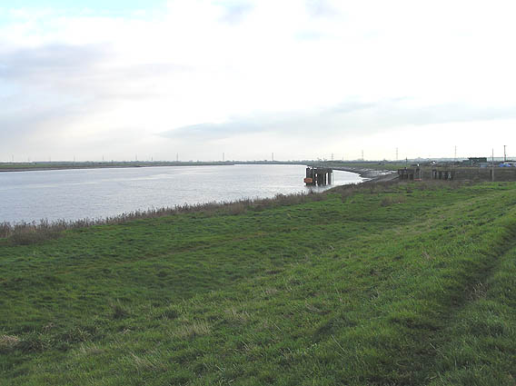 River Parrett south east of Combwich, with CEGB wharf