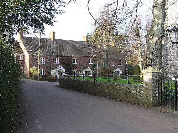 Houses opposite the church, Over Stowey