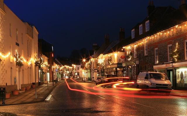 High Street, Bishop's Waltham with Xmas lights