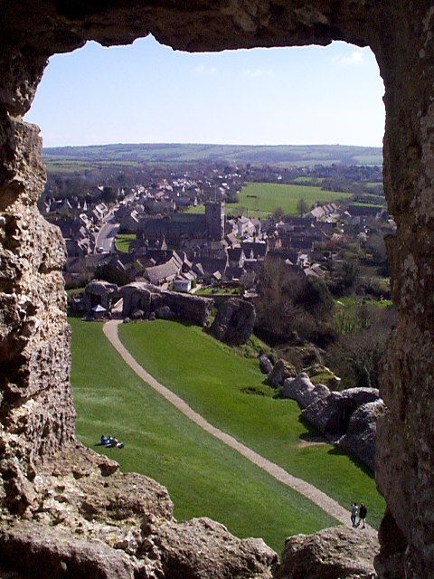 Village of Corfe Castle from within the castle