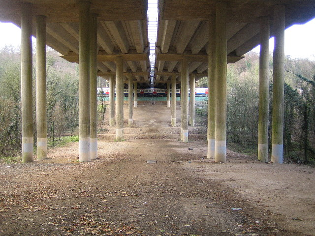 M25 Motorway viaduct & Metropolitan Line railway & Berry Lane