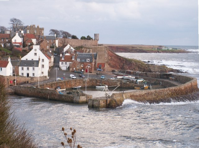 Crail harbour in a winter blow