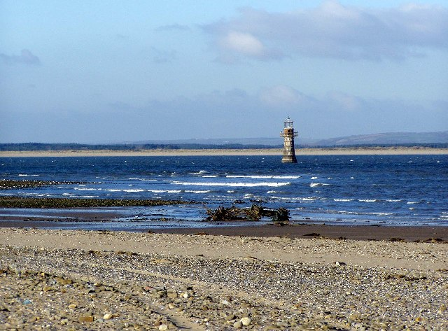 Disused lighthouse near Whitford Point, north-west Gower