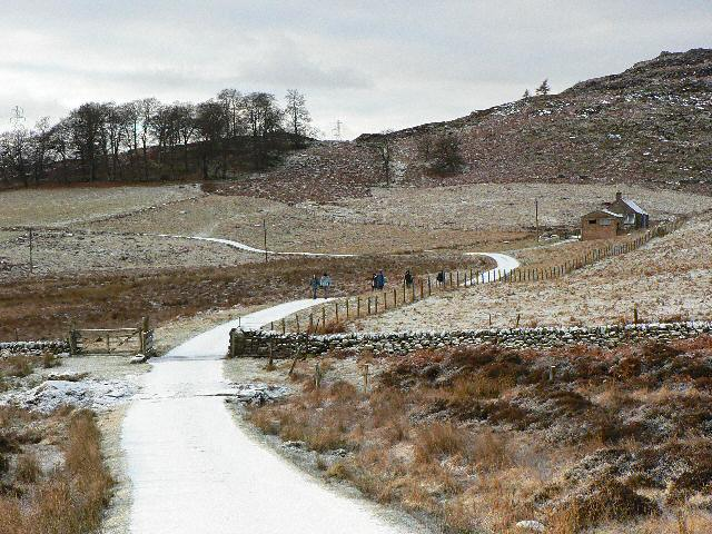 Walkers on the private road near Craigend