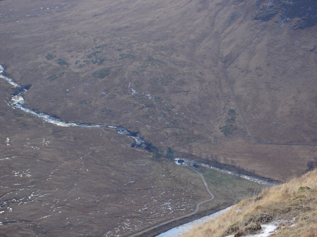 Looking down on Alltchaorunn in Glen Etive