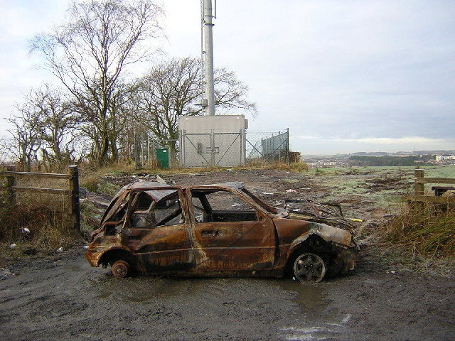 Burnt Out Car Beside Calderside Road