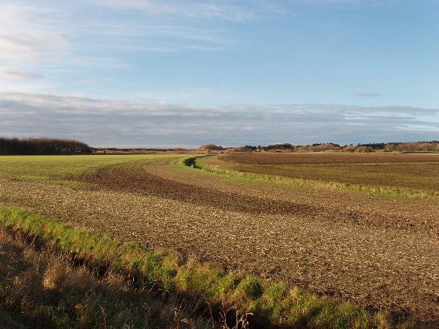 Farmland behind sand dunes, Formby