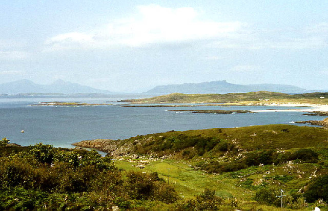 Sanna Bay, Portuairk with Eigg and Rum beyond