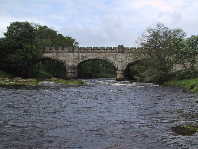 "Bridge upriver from ""the strid"" at Bolton Abbey"