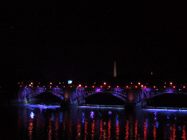 Glasgow rail bridge at night