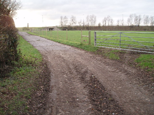 Public footpath with bridge under M11