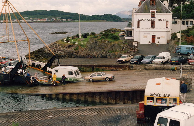 Before the bridge was built! Ferry from Skye unloading at Kyle of Lochalsh
