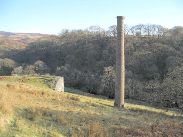 Chimney at abandoned mine workings near Ystradowen