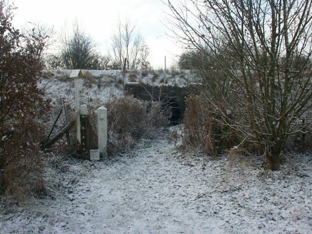 Foot tunnel beneath railway embankment