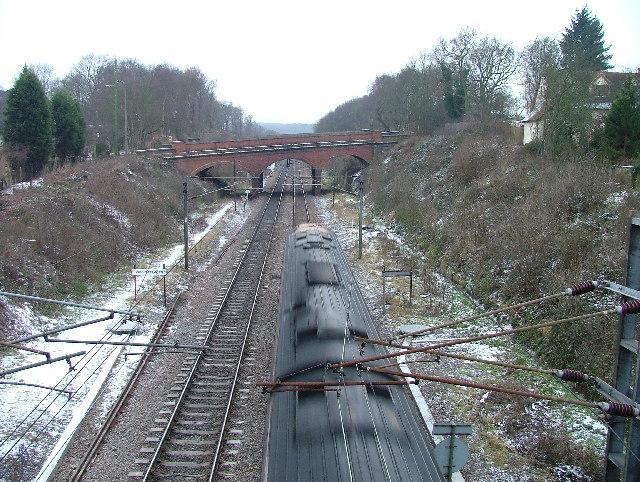 Railway bridge at Woolmer Green.