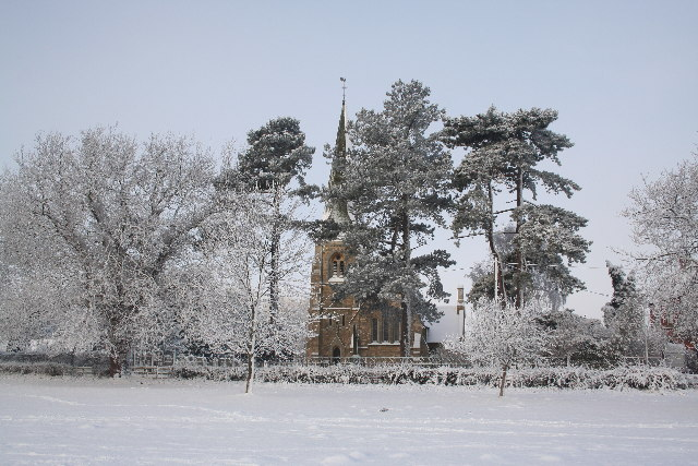 All Saints' church in the snow