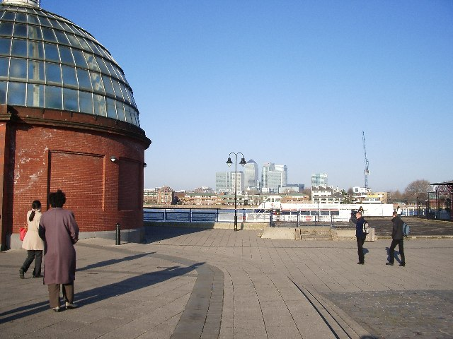 Docklands skyscrapers from Greenwich riverfront