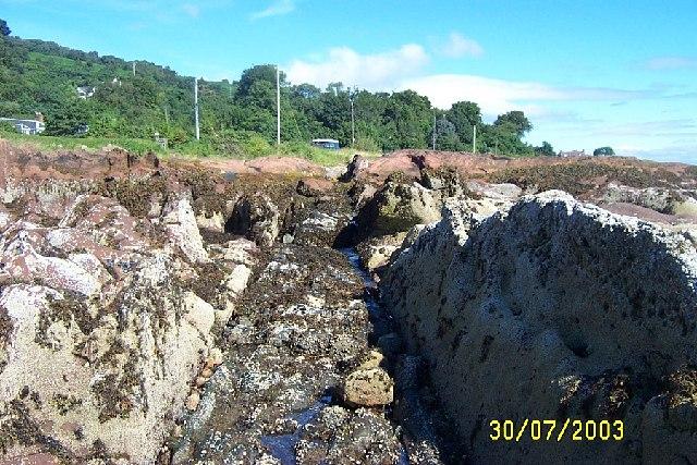 Igneous Dyke through sandstone, Corrie, Arran