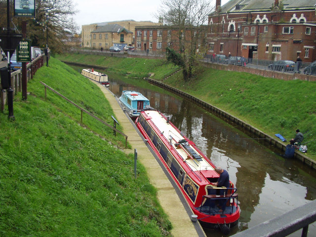 River Nene at March showing narrow boats