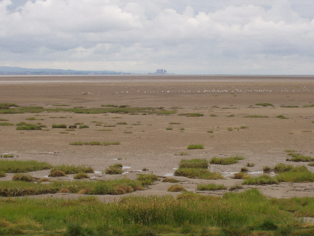 View across Morecambe Sands to Heysham power station