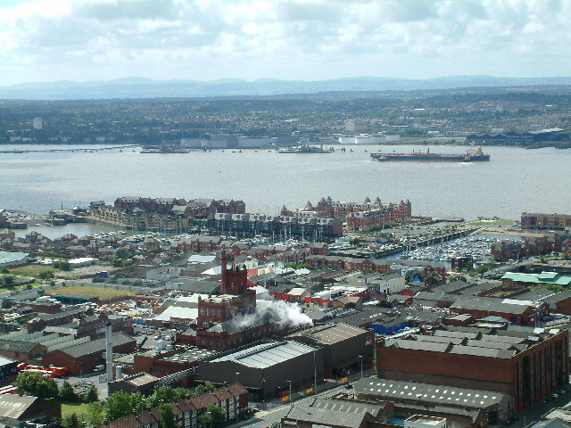 View from the  top of the Anglican Cathedral Tower, Liverpool.