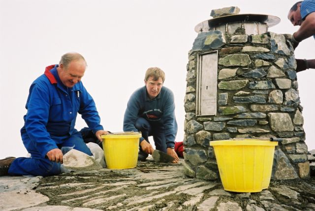 The Snowdon Triangulation Pillar under Reconstruction.