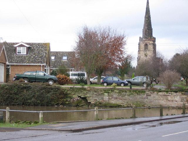 Village pond and church, Newton Regis