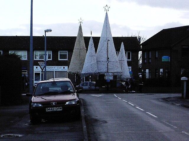 Christmas decorations at Waverton village shops
