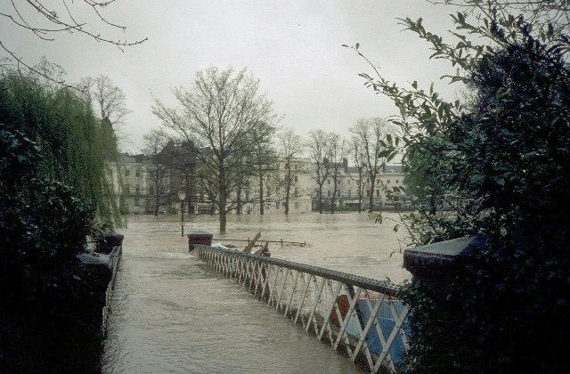 York Road footbridge during the floods